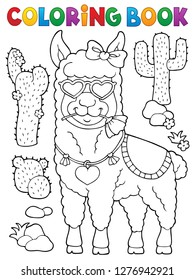 Coloring book llama with love glasses 1 - eps10 vector illustration.