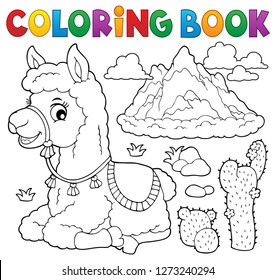 Coloring book llama near mountain - eps10 vector illustration.