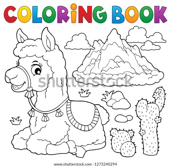 Coloring book llama near mountain - eps10 vector illustration.