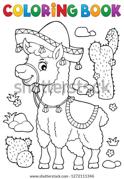 Coloring book llama in sombrero - eps10 vector illustration.