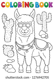 Coloring book llama with sunglasses 1 - eps10 vector illustration.