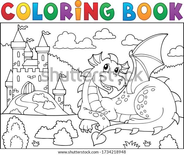 Coloring book lying dragon theme 2 - eps10 vector illustration.