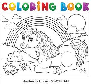 Coloring book lying unicorn theme 2 - eps10 vector illustration.