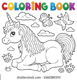 Coloring book lying unicorn theme 1 - eps10 vector illustration.