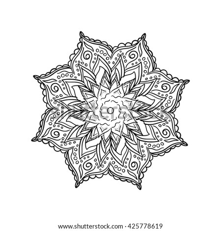 Coloring Book Mandala Outline Line Isolated Page
