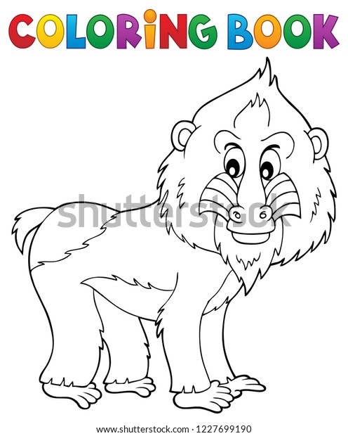 Coloring book mandrill theme 1 - eps10 vector illustration.
