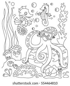 Coloring Book With Marine Animals Octopus And Seahorse