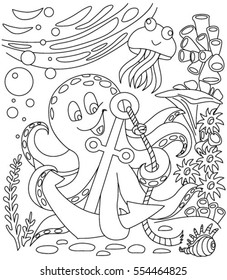 Coloring Book With Marine Animals Octopus And Anchor
