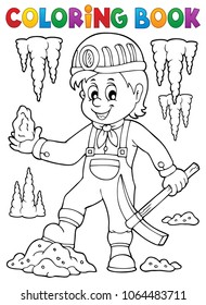 Coloring book miner theme image 1 - eps10 vector illustration.