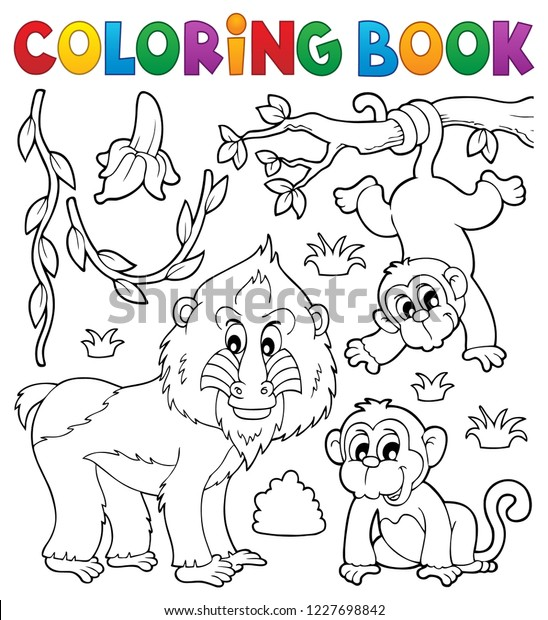 Coloring book monkey theme 4 - eps10 vector illustration.