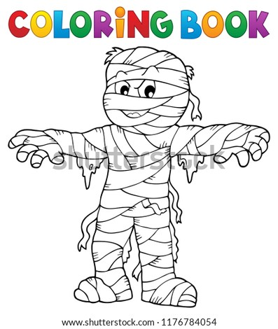 Coloring book mummy theme 1 - eps10 vector illustration.