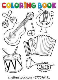 Coloring book music instruments 1 - eps10 vector illustration.