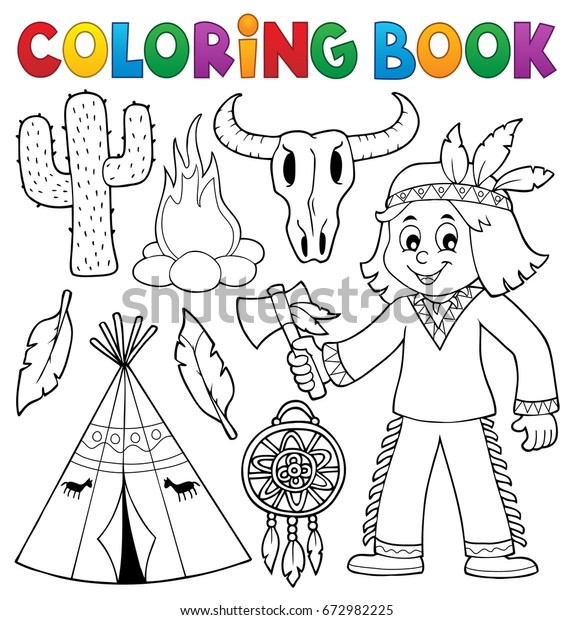 Coloring book Native American theme 2 - eps10 vector illustration.