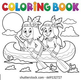 Coloring book Native Americans in boat - eps10 vector illustration.