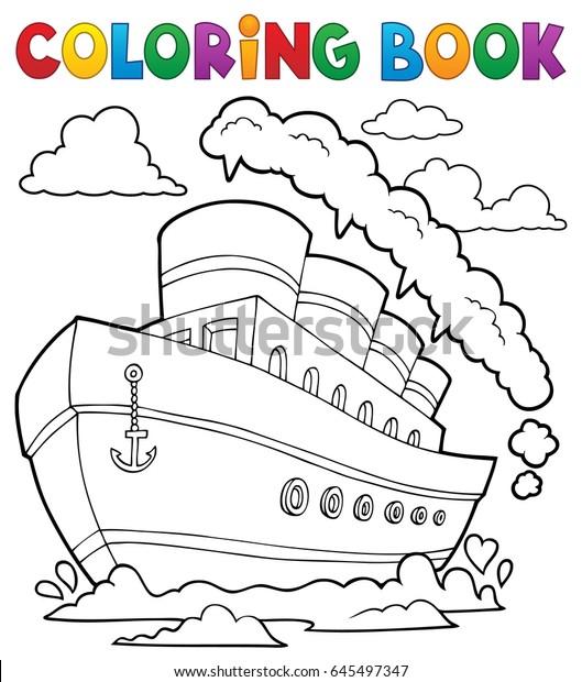 Coloring book nautical ship 2 - eps10 vector illustration.