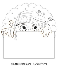 Coloring book night Owl with green eyes, on sky in striped cap frame. Picture in hand drawing cartoon style, for sale or text frame, greeting or business card, party invitation
