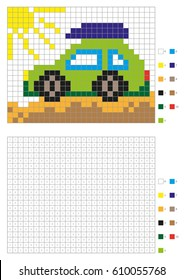 Coloring book with numbered squares. Kids coloring page, pixel coloring. Green car. Vector illustration
