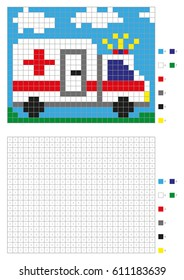 Coloring book with numbered squares. Kids coloring page, pixel coloring. Ambulance car. Vector illustration