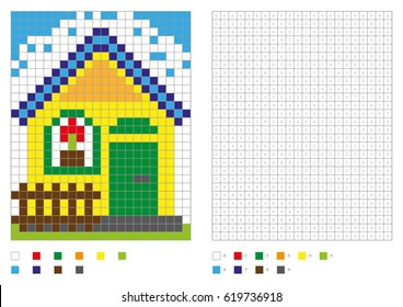 Coloring book with numbered squares. Kids coloring page, pixel coloring. Building, house. Vector illustration