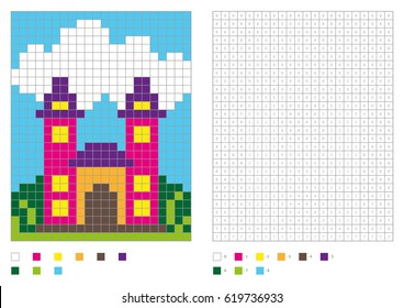 Coloring book with numbered squares. Kids coloring page, pixel coloring. Building, house, castle. Vector illustration