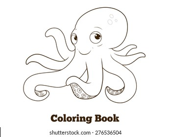 Coloring book octopus cartoon educational illustration
