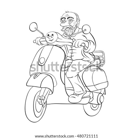 Coloring Book Old Man On Motor Stock Vector (Royalty Free) 480721111 ...