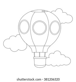 Coloring Book Outlined Hot air Balloon