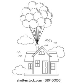 Coloring Book Outlined House with Balloon