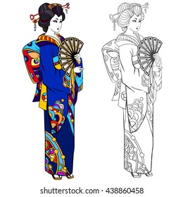 Japanese Geisha Coloring Pages Stock Vectors Images Vector Art