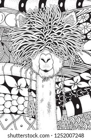 Coloring Book page for Adult and children. A4 size.  Llama in zentangle style. Black and white monochrome background. Doodle hand-drawn.