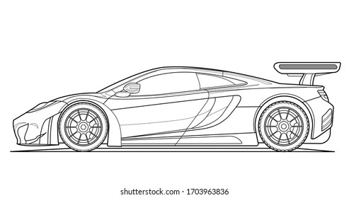 Coloring book page for adult drawing. Paper. Car with outlines. Vector illustration vehicle Graphic element. Wheel. Black contour sketch illustrate Isolated on white background.