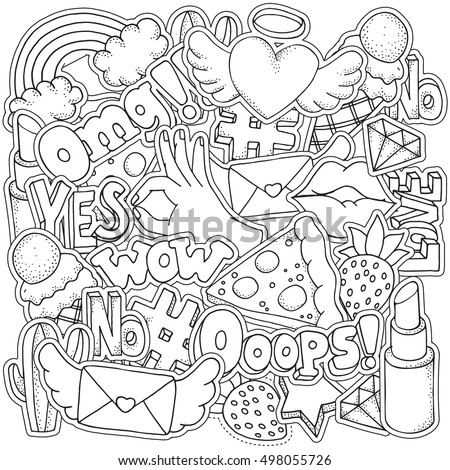 Coloring Book Page Adult Fashion Patch Stock Vector Royalty Free