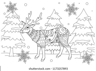 Coloring Book page for adult and kid. Colouring picture of zentangle stylized Chiristmas deer in the winter and beautiful snowflakes. Hand drawing illustration.