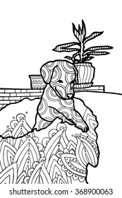 Coloring book page for adults, bohemian style dog
