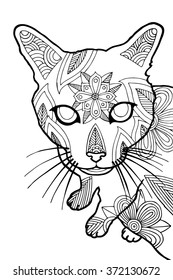 Coloring book page for adults, bohemian style cat
