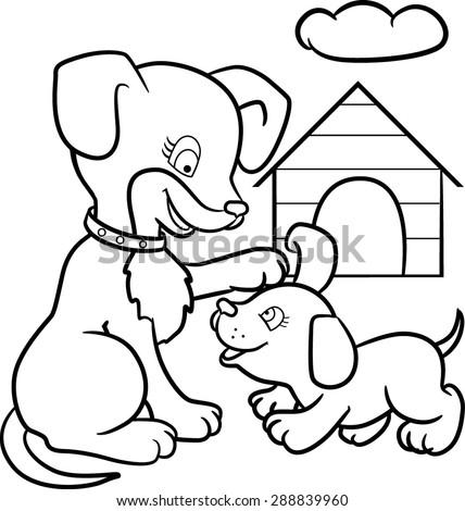 coloring book page animals cartoon
