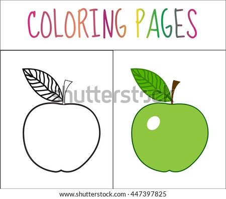 Coloring Book Page Apple Sketch And Color Version For Kids Vector