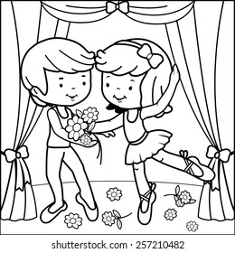 Coloring book page ballerina girl and boy dancing on stage.