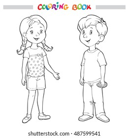 Coloring book or page. Boy and girl - vector illustration.