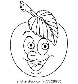 Coloring Page Cartoon Apple Happy Fruit Emoticon Smiley Emoji