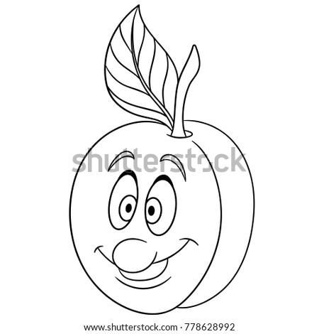 Coloring Page Cartoon Apricot Happy Fruit Emoticon Smiley Emoji