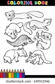 Coloring Book Page Or Cartoon Black And White Animals