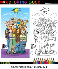 Coloring Book or Page Cartoon Illustration of Happy Boys and Girls Teenagers Group giving a Hug and Laughing