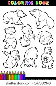 Coloring Book Or Page Cartoon Illustration Of Funny Bears For Children