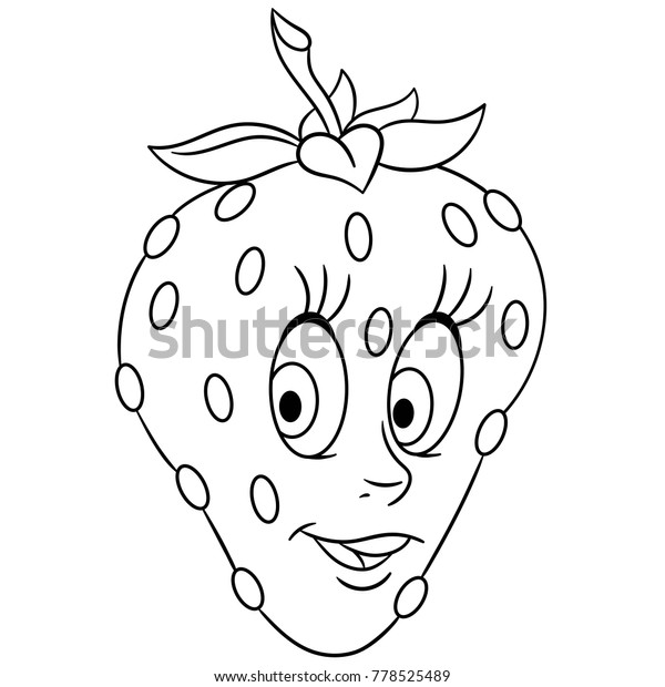 Coloring Book Coloring Page Cartoon Strawberry Stock Vector (Royalty Free)  778525489