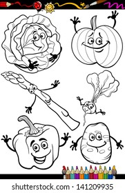 Coloring Book or Page Cartoon Vector Illustration of Black and White Vegetables Food Comic Characters Set