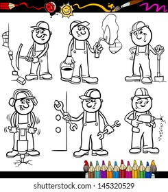 Coloring Book or Page Cartoon Vector Illustration of Black and White Funny Manual Workers or Workmen at Work Characters Set for Children Education