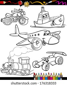 Coloring Book or Page Cartoon Vector Illustration Set of Black and White Transportation or Vehicles Characters for Children