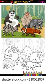 Captivating Coloring Book Or Page Cartoon Vector Illustration Of Black And White Funny  Asian Animals Group For