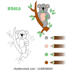 Coloring book page for children. Cartoon koala. Vector illustration